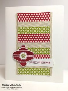 "Christmas Collectibles--Stamp Sets: Christmas Collectibles, Teeny Tiny Wishes Card Stock: Whisper White Ink Pads: Cherry Cobbler, Old Olive Tools: Christmas Ornament, 1/2"" Circle and Modern Label Punches Accessories: Season of Style Washi Tape, Rhinestones"