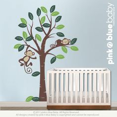 Wall Decals Two Monkeys and Tree Nursery Kids by pinknbluebaby