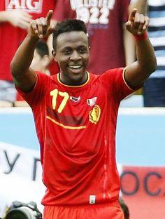 後半、ゴールを決め笑顔でポーズをとるベルギーのオリジ=リオデジャネイロ(共同)Divock Okoth Origi