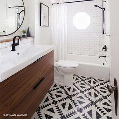 Gorgeous bathroom using cement tile and Ikea vanity (refaced). Gorgeous bathroom using cement tile and Ikea vanity (refaced). Image Size: 640 x 640 Source Bad Inspiration, Bathroom Inspiration, Ikea Vanity, Wood Vanity, Vanity Sink, Estilo Interior, Bathroom Renos, Mirror Bathroom, Bathroom Ideas