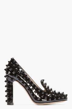 VALENTINO Black Patent Leather Studded Pumps