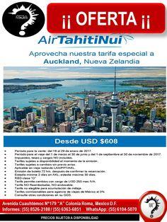 ¡¡OFERTA¡¡ Air Tahiti Nui Auckland Nueva Zelandia  desde USD 608   Llámanos: 6363-6851 ó Escríbenos: roma@romaagenciadeviajes.com Visitamos en: Av. Cuauhtemoc 179 A Colonia Roma, Mex D.F O Checa nuestra pagina web: www.romaagenciadeviajes.com en donde podrás reservar y pagar las 24 horas del dia y a meses con tarjetas participantes