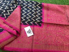 Buy Pink and back color banarasi dupion silk sarees online with price at siri designers Dupion Silk Saree, Banaras Sarees, Soft Silk Sarees, Silk Sarees With Price, Silk Sarees Online, Siri, Digital Prints, Designers, Blouses