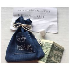 Don't lose your tooth under your pillow. Put it in the little pocket so it's easy for the tooth Fairy to find it. You can put a note or a drawing in the bag. When she'll get your tooth and your note the Tooth Fairy will leave money inside of the little bag.  #23gobyflo #handmade #madeinusa #tooth #toothfairy #case #denim #minimal #mydesign #minimalist #firsttooth #littlegirl #littleboy #kid #kids #children