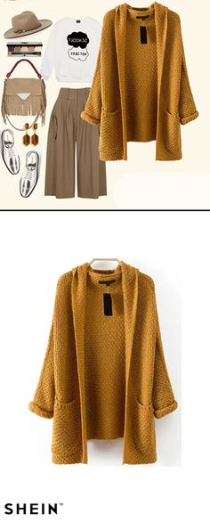 I really really need this outfit for coming autumn! Love sweater coat so much! Adorable cable knit & chunky pochons style. Really warm & casual! Pockets Chunky Knit Khaki Coat from shein