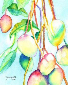 Original Watercolors Mangoes Paintings Tropical by kauaiartist