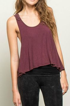 Burgundy stone washed high low top with crocheted racerback is a great alternative to a boring basic and perfect for the contemporary boho style. Stone wash color and splatter pattern look will vary from another.   Crochet Back Tank by POL. Clothing - Tops - Tees & Tanks Dallas, Texas