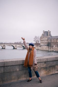 Gal Meets Glam A Parisian Look - APC coat, Vince turtleneck, J.Crew jeans, Max Mara scarf, Gucci loafers, Mark Cross bag & Beret
