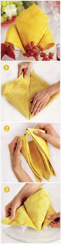 Move over fan fold. A fun, new way for me to set the napkins on the table: Fabulous Crown Fold Napkin Origami, Decorative Napkins, How To Fold Towels, Table Etiquette, Table Manners, Dinner Napkins, Table Linens, Napkin Folding Crown, Folding Napkins