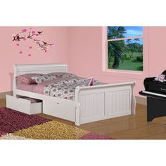 White Dual Underbed Drawers Sleigh Bed | Overstock.com