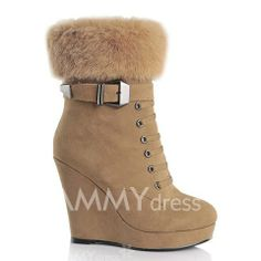 $26.82 Stunning Women's Short Boots With Buckle and Wedge Heel Design