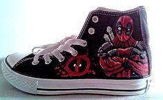 Deadpool Fanart Hand Painted Converse All Star by JinKaiArtwork