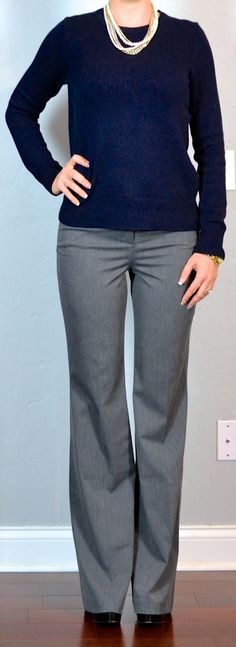 Outfit Posts: outfit post: navy side zipper sweater, grey pants, layered necklace