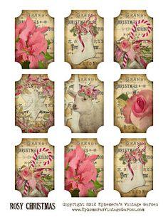 Free Rosy Christmas Tags/Ornaments ~ Ephemera's Vintage Garden  .. ......................................................♥.....Nims.....♥