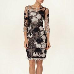 Phase Eight Black and Champagne fifi 3/4 sleeve tapework dress- at Debenhams.com