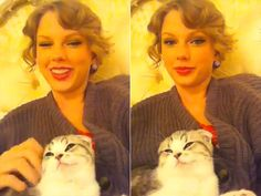 Taylor Swift with her Scottish Fold kitten, Meredith.