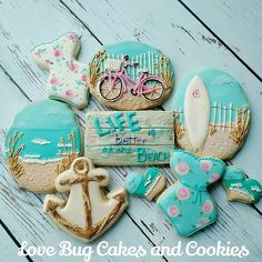 Beach theme decorated sugar cookies Anchor, shore line, one piece bikini shapes Love Bug Cakes and Cookies-too sweet to eat! Summer Cookies, Fancy Cookies, Iced Cookies, Cute Cookies, Royal Icing Cookies, Cupcake Cookies, Cookies Et Biscuits, Cupcakes, Cookie Favors