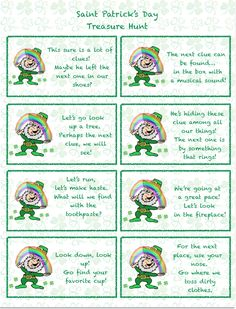 Free printable Saint Patrick's Day treasure hunt for kids. 24 clues- mix and match- plus blanks! St Patricks Day Spiele, St. Patricks Day, Saint Patricks, Treasure Hunt For Kids, Treasure Hunt Clues, St Patricks Day Crafts For Kids, St Patrick's Day Crafts, March Crafts, Kid Crafts