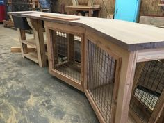 We built this counter/dog kennel out of reclaimed heart pine.