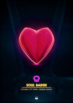 Soul Badge - by Artkal Kanto Gym Badges, Pokemon Gym Badges, Rainbow Badge, Video Game Anime, Video Games, Popular Pokemon, Pokemon Gijinka, Gym Leaders, Pokemon Red