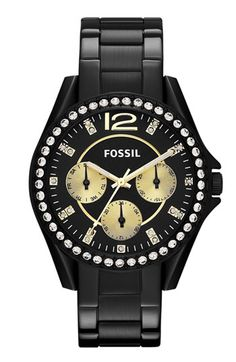 Fossil 'Riley' Round Crystal Bezel Bracelet Watch available at #Nordstrom