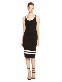 Midi Tank Dress With Stripes - DKNY