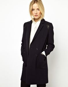 Image 1 of Whistles Isla Coat with Leather Panel