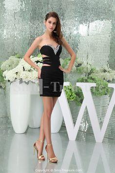 Elegant Black Short/ Mini Chiffon Sweetheart Beading Evening Dress