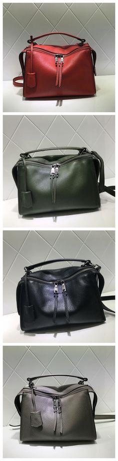 Full Grain Leather Fashion Handbag Shoulder Bag Messenger Bag Leather Bag for Women AM04 Overview: Design: Women Fashion Handbag In Stock: 3-5 days For Making Include: Only Handbag Color: Red, Gray, B