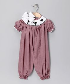 Take a look at this Garnet Gingham Carolina Bubble Playsuit & Bow - Infant by Molly Pop Inc. on #zulily today!