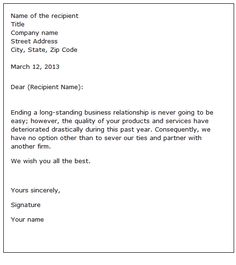 sample letter of cancellation of business contract cancellation of
