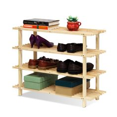 Wildon Home ® 4 Pine Wood Tier Shoe Rack
