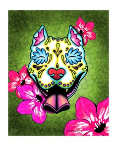 Slobbering Pit Bull Day of the Dead Sugar Skull Dog Art Print - 8 x 10 - Prints for Pits Rescue Donation