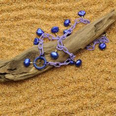 CIJ SALE Lilac Anklet with Deep Blue Pearls by Bungalow42 on Etsy
