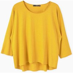Cotton T-Shirt (230 MXN) ❤ liked on Polyvore featuring tops, t-shirts, three quarter sleeve tops, yellow t shirt, cotton t shirts, three quarter length sleeve tops and 3/4 length sleeve t shirts