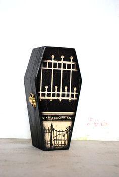 Halloween Gate Wood Coffin  Black Casket by Mmim on Etsy, #halloween #decor