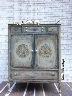 SOLD Vintage Dresser - Bohemian Painted Dresser - Painted Dresser - Vintage Armoire - Vintage Dresser - Shabby Chic Dresser by DareToBeVintage on Etsy