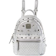 MCM Women's Special Stark X-Mini Backpack - Silver ($900) ❤ liked on Polyvore featuring bags, backpacks, silver, studded bag, mini backpack, white backpack, backpack bags and logo backpacks