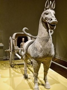Horse and carriage, Eastern Han Dynasty Sichuan Province China 1st-2nd century CE Gray earthenware with traces of pigment