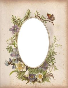 Victorian Photo Album Oval Floral Frame ~ Zibi Vintage Scrap