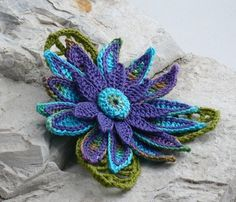 Crochet Brooch Fiber Brooch Irish Crochet Pin by Nothingbutstring