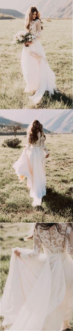 beautiful long sleeves a-line/princess chiffon wedding dress