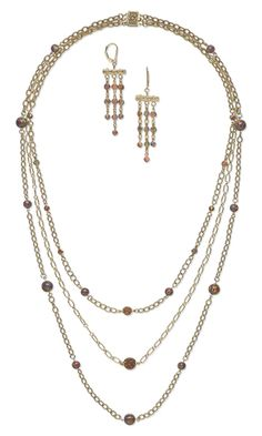 Triple-Strand Necklace and Earring Set with Opal Gemstone Beads and Cabochons and Gold-Filled Chain - Fire Mountain Gems and Beads