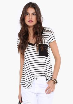 For Shore Striped Tee in Black/white | Necessary Clothing