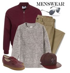 """Wardrobe Basics: Menswear"" by andrejae ❤ liked on Polyvore featuring Topman, Lands' End, Gant Rugger, GUESS, Vans, New Era, mens, men, men's wear and mens wear"