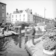 Some boys having a fine time inspecting proceedings as a barge makes its way through a lock on the Grand Canal at Portobello, Dublin. barge, serial no. Photographer: Elinor Wiltshire Date: Summer 1959 NLI Ref. Dublin Map, Dublin Hotels, Visit Dublin, Dublin Castle, Dublin City, Dublin Ireland, Ireland Pictures, Old Pictures, Old Photos