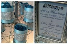 blue and silver centerpiece ideas -