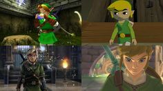 Diffrent Links from Ocarina of time.... Wind Waker....Twilight Princesss....Skyward Sword from top left to right