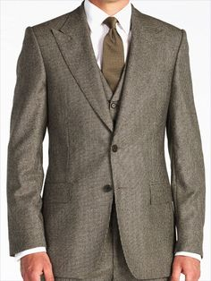 Fawn Houndstooth Three Piece Suit