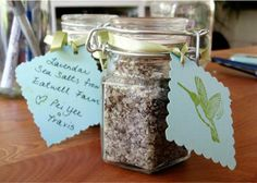 Package salts in glass favor jars from  Timeless treasure then tie with hand cut, hand written hang tags. #timelesstreasure